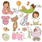 Baby girl shower elements — Stock Vector