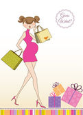 Card with beautiful pregnant woman on shopping — Stock Vector