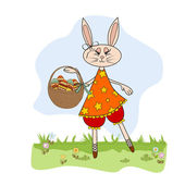 Easter bunny with a basket of Easter eggs — Stock Vector