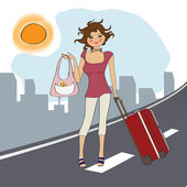 Woman with suitcase — Stock Vector