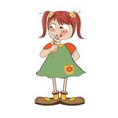 Rolig tjej med glass — Stockvektor