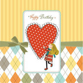 祝你生日快乐卡和一个女孩 — 图库矢量图片