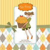 Girl and cupcake — Stock Vector