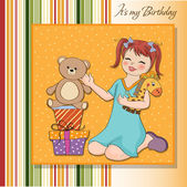 Little girl birthday gifts — Stock Vector