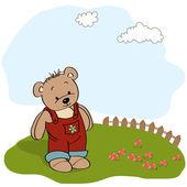 Verjaardag wenskaarten met teddy bear — Stockvector