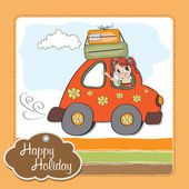 Woman holiday by car — Stock Vector