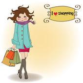 Frau am einkaufen — Stockvektor