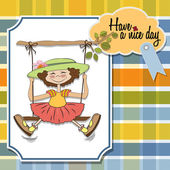 Girl in a swing — Stock Vector