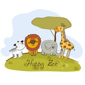 Happy zoo — Stock Vector