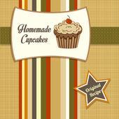 Vintage σπιτικά cupcakes αφίσα — Φωτογραφία Αρχείου