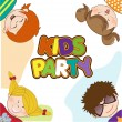 Stock Vector: Kids celebrating birthday party
