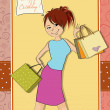 Girl at shopping — Vector de stock #38506471