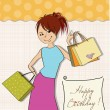 Girl at shopping — Vector de stock #38506479