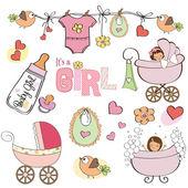 Baby girl shower elements set — Stock Vector