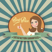 Retro woman and best price message — Vector de stock