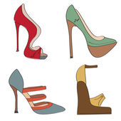Shoes set on a high heel — Stock Vector
