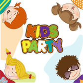 Kids celebrating birthday party — Stock Vector