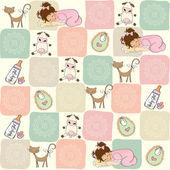 幼稚无缝模式与玩具 — 图库矢量图片