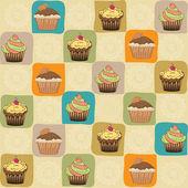 Infantil de patrones sin fisuras con cupcakes — Vector de stock