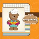 Teddy bear with pie. — Stock Vector