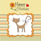 Carta di compleanno con gatto — Vettoriale Stock