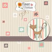 Birthday card with cat — Stok Vektör
