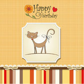 Birthday card with cat — Stockvector