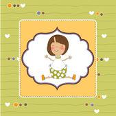 Ny baby flicka tillkännagivande kort — Stockvektor