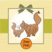 Tarjeta de cumpleaños con gato — Vector de stock