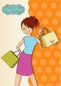 Jeune fille au shopping — Vecteur