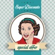 Happy woman, commercial retro clipart illustration — Stock Photo #38643737