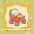Stock Vector: Baby boy in retro stroller