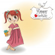 Vector de stock : Girl she hide gift