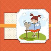 看书的女孩 — 图库矢量图片