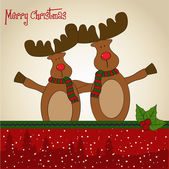 Christmas card with reindeer — Stockvector