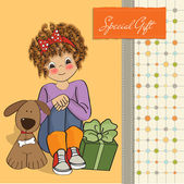 Card with pretty little girl — Stock Vector
