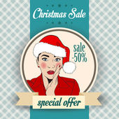 Christmas sale design with sexy Santa girl — Stock Vector