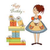 Girl with birthday cake — Stock Vector