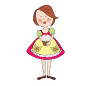 Girl with birthday cake — Stock Vector
