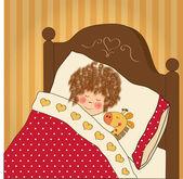 彼女のおもちゃと少女睡眠 — ストックベクタ