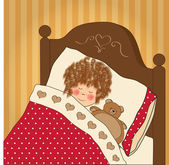 Little girl sleep with her toy — Stock Vector