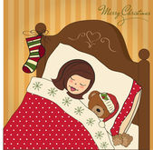 маленькая девочка сна со своей игрушкой — Cтоковый вектор