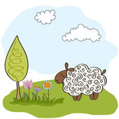 Spring greeting card with sheep — Stock Vector