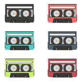 Retro audio tapes collection — Stock Vector