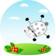 Stock Vector: Flying sheep