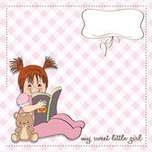 Девушка, читающая книгу — Cтоковый вектор