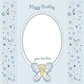 Butterfly birthday card — Stock Vector
