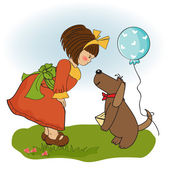 Girl and her dog — Stock Vector