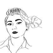 Vintage pop art girl — Stock Vector