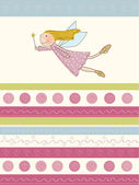 Welcome baby card with little fairy — Stock Vector
